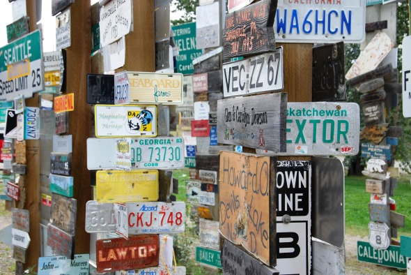 Just a few of the 78,000 signs at Watson Lake, YK