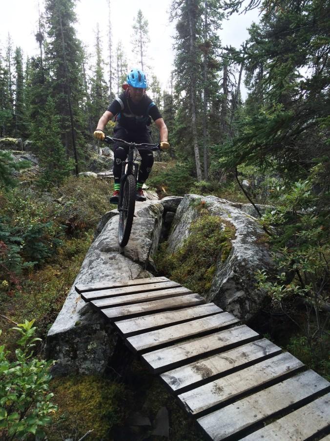 Bridge to rock to bridge to rock to bridge - and done! 'Goat', Carcross, Yukon.