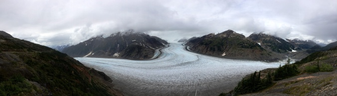 Clouds hang out over the Salmon Glacier, BC.
